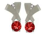 Tommaso Design™ Round 5mm Genuine Garnet Earrings style: 23908
