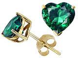 Tommaso Design™ Heart Shape 6mm Simulated Emerald Earrings Studs style: 25404