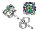 Tommaso Design™ 6mm Round Rainbow Mystic Topaz Earrings Studs style: 25801
