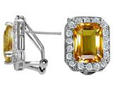 Star K™ Genuine Emerald Cut Citrine Earrings style: 26766