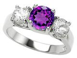 Star K™ 925 Genuine Round Amethyst Ring style: 27077