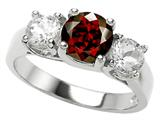 Star K™ 925 Genuine Round Garnet Ring style: 27081