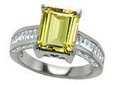 Star K™ 925 Genuine Emerald Cut Lemon Quartz Ring style: 27236