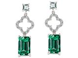 Star K™ 925 Simulated Emerald Cut Emerald Earrings style: 27305