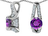 Star K™ 925 Genuine Round Amethyst Pendant Necklace style: 27309