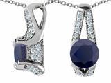 Original Star K™ 925 Genuine Round Black Sapphire Pendant style: 27313