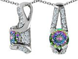Star K™ 925 Genuine Round Mystic Rainbow Topaz Pendant Necklace style: 27318