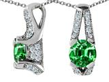 Star K™ 925 Simulated Round Emerald Pendant Necklace style: 27323