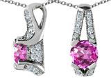 Star K™ 925 Simulated Round Pink Topaz Pendant Necklace style: 27325