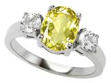 Original Star K™ 925 Genuine Oval Lemon Quartz Engagement Ring style: 27360