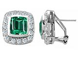 Original Star K™ 925 Simulated Emerald Cut Emerald Earrings style: 27431