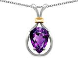 Star K™ Pear Shape 11x8mm Genuine Amethyst Pendant Necklace style: 27468