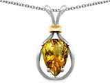 Star K™ Pear Shape 11x8mm Genuine Citrine Pendant Necklace style: 27472