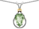 Star K™ Pear Shape 11x8mm Green Amethyst Pendant Necklace style: 27474
