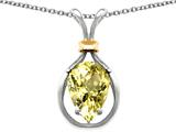 Star K™ Pear Shape 11x8mm Genuine Lemon Quartz Pendant Necklace style: 27477
