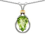 Star K™ Pear Shape 11x8mm Genuine Peridot Pendant Necklace style: 27479