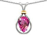 Star K™ Pear Shape 11x8mm Simulated Pink Tourmaline Pendant Necklace style: 27490