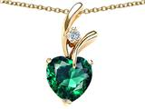 Star K™ 925 Simulated Heart Shaped Emerald Pendant Necklace style: 27556