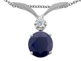 Tommaso Design™ Round 7mm Genuine Black Sapphire Pendant style: 301963
