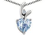 Star K™ Heart Shaped 8mm Simulated Aquamarine Pendant Necklace style: 302062