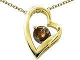 Tommaso Design™ Heart Shape Round 7mm Genuine Smoky Quartz Pendant Necklace style: 302065