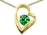 Tommaso Design™ Heart Shape Round 7mm Simulated Emerald Pendant Necklace style: 302068