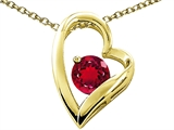 Tommaso Design™ Heart Shape Created Ruby 7mm Round Pendant Necklace style: 302069