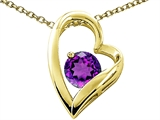 Tommaso Design™ Heart Shape Round 7mm Genuine Amethyst Pendant Necklace style: 302071