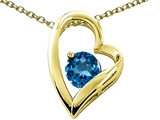 Tommaso Design™ Heart Shape Round 7mm Genuine Blue Topaz Pendant Necklace style: 302072