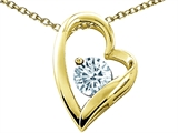 Tommaso Design™ Heart Shape Round 7mm Genuine Aquamarine Pendant Necklace style: 302074