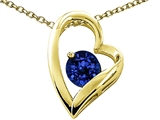 Tommaso Design™ Heart Shape Round 7mm Created Sapphire Pendant Necklace style: 302076
