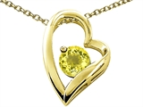 Tommaso Design™ Heart Shape Round 7mm Genuine Lemon Quartz Pendant style: 302077