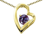 Tommaso Design™ Heart Shape Round 7mm Simulated Alexandrite Pendant Necklace style: 302078