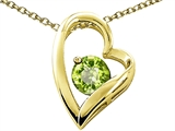 Tommaso Design™ Heart Shape Round 7mm Genuine Peridot Pendant Necklace style: 302081