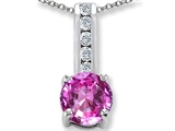 Created Pink Sapphire And Cubic Zirconia Pendant Necklace style: 302095