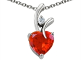 Star K™ Heart Shape 8mm Simulated Orange Mexican Fire Opal Pendant Necklace style: 302151