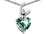 Star K™ Heart Shaped 8mm Simulated Green Sapphire Pendant Necklace style: 302160