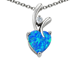 Star K™ Heart Shape 8mm Simulated Blue Opal Pendant Necklace style: 302161