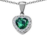Star K™ 925 Simulated Heart Shaped Emerald Pendant Necklace style: 302174