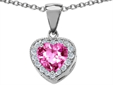 Star K™ 925 Created Heart Shaped Pink Sapphire Pendant Necklace style: 302179