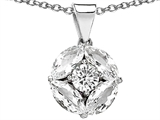 Star K™ Genuine Round White Topaz Pendant Necklace style: 302203
