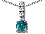 Star K™ Simulated Blue Opal Pendant Necklace style: 302210