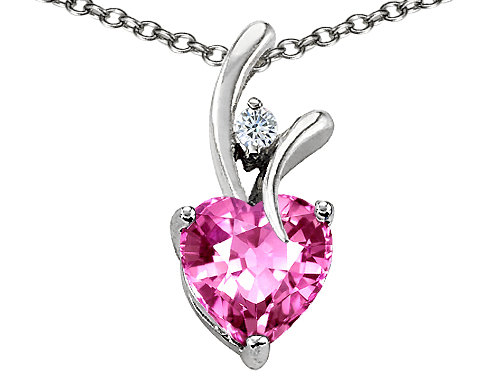 Star K™ Heart Shaped 8mm Created Pink Sapphire Pendant Necklace style: 302226