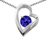 Star K™ 7mm Round Simulated Tanzanite Heart Shape Pendant Necklace style: 302231