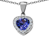Star K™ 8mm Heart Shape Simulated Tanzanite Pendant Necklace style: 302232