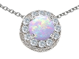 Original Star K™ Round Simulated Opal Pendant style: 302235