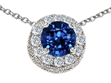 Star K™ Created Round Sapphire Pendant Necklace style: 302237