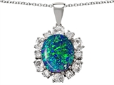 Star K™ Oval Simulated Blue Opal Pendant Necklace style: 302240