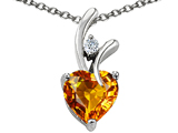 Star K™ Genuine Heart Shaped 8mm Citrine Pendant Necklace style: 302251