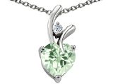 Star K™ Genuine Heart Shaped 8mm Green Amethyst Pendant Necklace style: 302252
